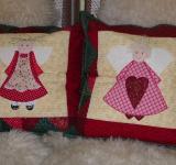 Vánoční patchworkové polštáře s anděly